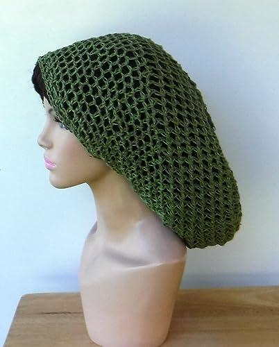 35dd5fdf205 Amazon.com  Handmade Slouchy beanie hat pure green hemp Dread Tam summer  snood hat  Handmade