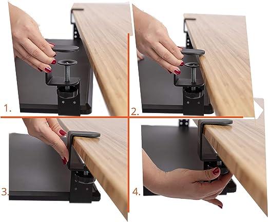 Soporte de escritorio para almacenamiento compacto con abrazadera retráctil y ajustable, bandeja para teclado debajo del escritorio, mejora la comodidad al tiempo que aumenta el espacio de escritorio utilizable (25 x 11,5