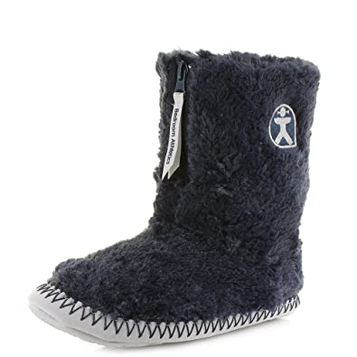 016b9e7a72c8c Bedroom Athletics Monroe Classic Faux Fur Slipper Boots - Peacoat Navy /  Trace Grey: Amazon.co.uk: Shoes & Bags