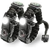 LeMotech 21 in 1 Adjustable Paracord Survival Bracelet, Tactical Emergency Gear Kit Includes SOS LED Flashlight, Bigger…