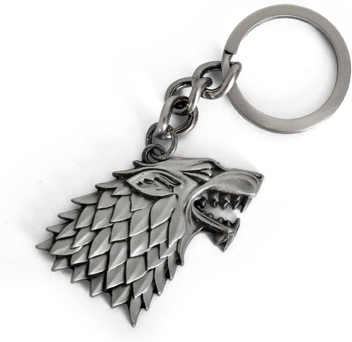 Game of Thrones Keychain House Stark Winterfell Wolf Symbol Badge