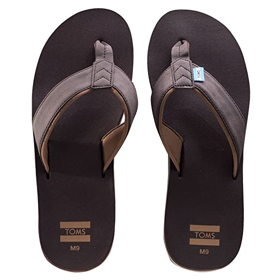 TOMS Hombres Carilo Toe Post Extra Cushy Flip Flop Chocolate Brown 7 UK po6GZ7o