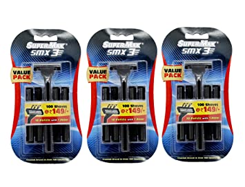 Supermax 3 Smx Razor Pack Of 3 (10 Refills With 1 Razor In A Pack) Men's Manual Razors at amazon