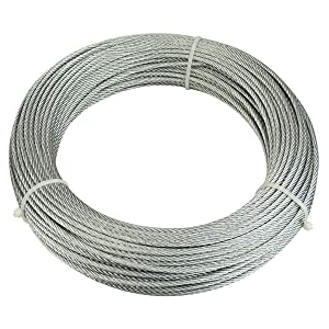 """Muzata Galvanized Steel Wire Rope 1/8"""" Cable 65 Feet for Railing Decking Stair Balustrade Dog Run Clothes Lines Outdoors DIY,7x7 Strand"""
