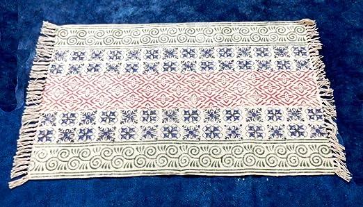 iinfinize - Alfombra de pasillo de algodón 100%, hecha a mano, para meditación, yoga, decoración del hogar, alfombrilla de cocina, alfombra de piso: Amazon.es: Hogar