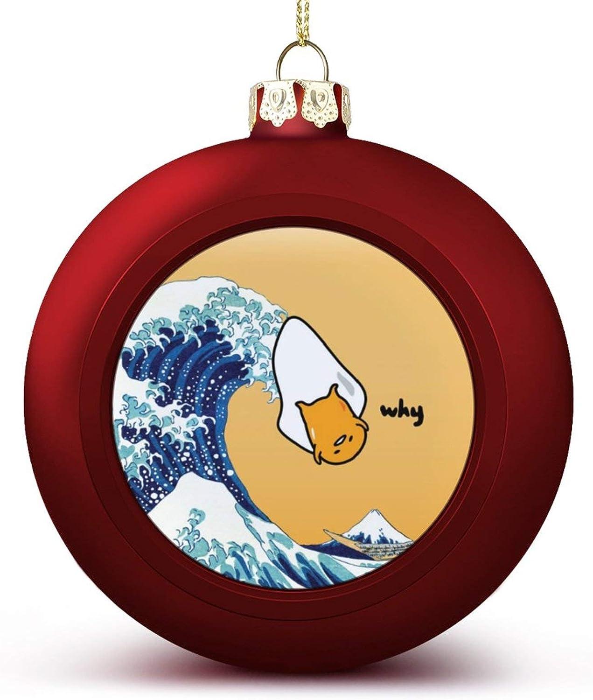 VinMea Christmas Ball Ornament Gudetama'S Great Wave Xmas Tree Decorations Holiday Wedding Home Party Keepsake Xmas Gifts Keepsake Ornaments