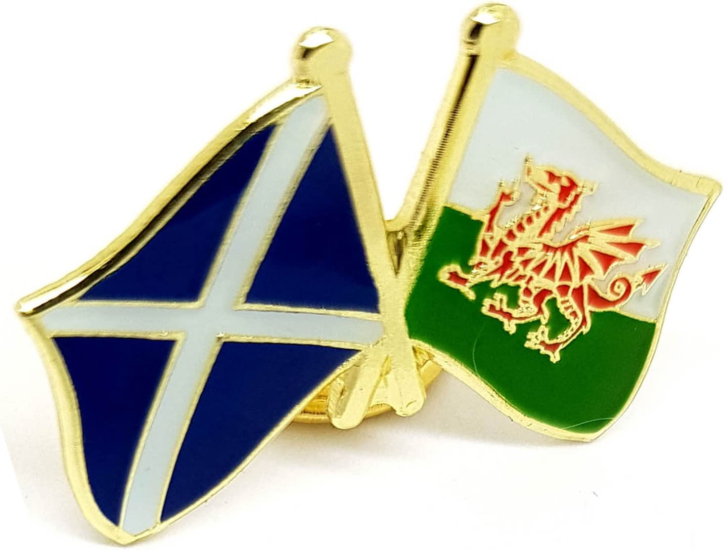Welsh Dragon /& St Andrews Flag Friendship Lapel Pin badge FREE UK Delivery