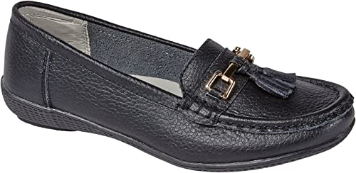 Womens Flats Leather Deck Boat Loafers