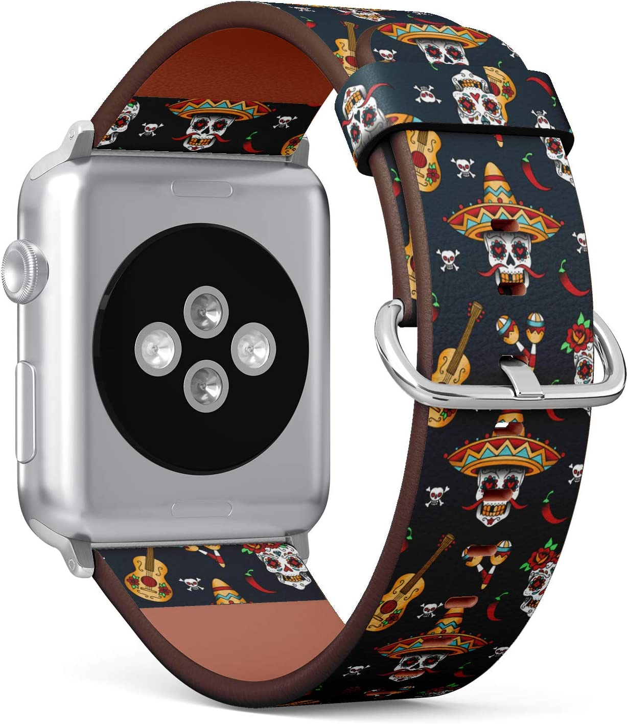 S-Type iWatch Leather Strap Printing Wristbands for Apple Watch 4/3/2/1 Sport Series (42mm) - Day of The Dead Pattern with Sugar Skull, Guitar and Pepper