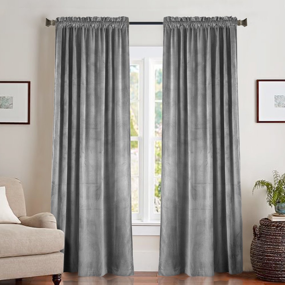 "Grey Velvet Curtains Half Blackout Drapes for Bedroom, Rod Pocket Thermal Insulated Curtain (1 Panel, 52"" Width 84"" Long, Gray) 52 Width 84 Long TOPICK"
