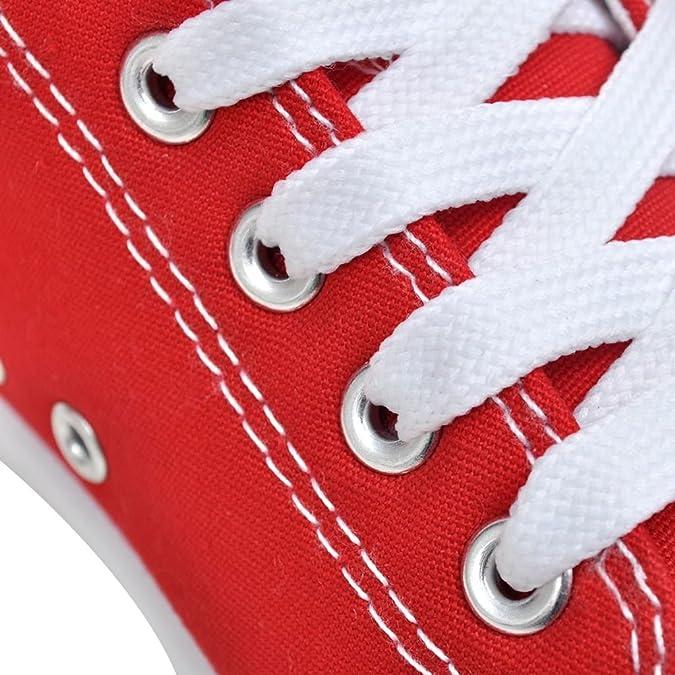 Baskets femme montantes en toile classiques à lacets rouges taille 38 y2uUJ