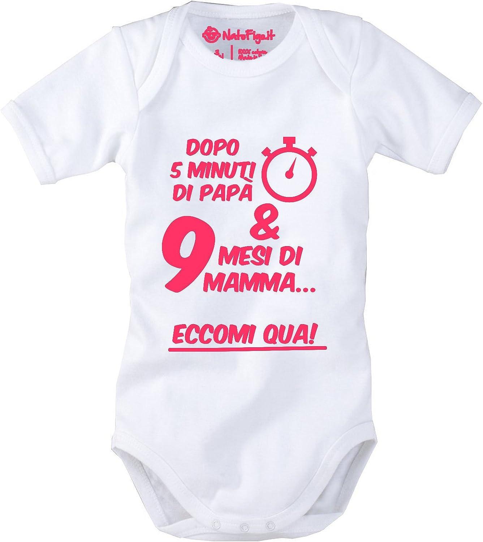 NatoFigo Eccomi Qua! 100/% Cotone Body Neonato Mezza Manica