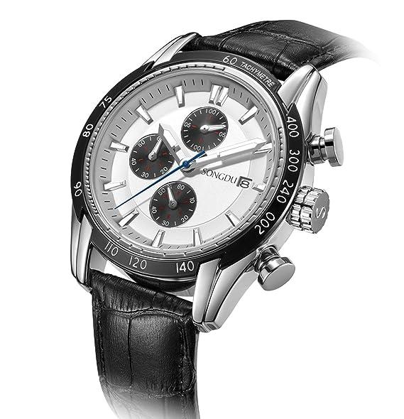 1b0853eedd SONGDU メンズ アナログ 高級感 人気 ウォッチ クロノグラフ 日付 クォーツ 腕時計 (ホワイト ブラック)
