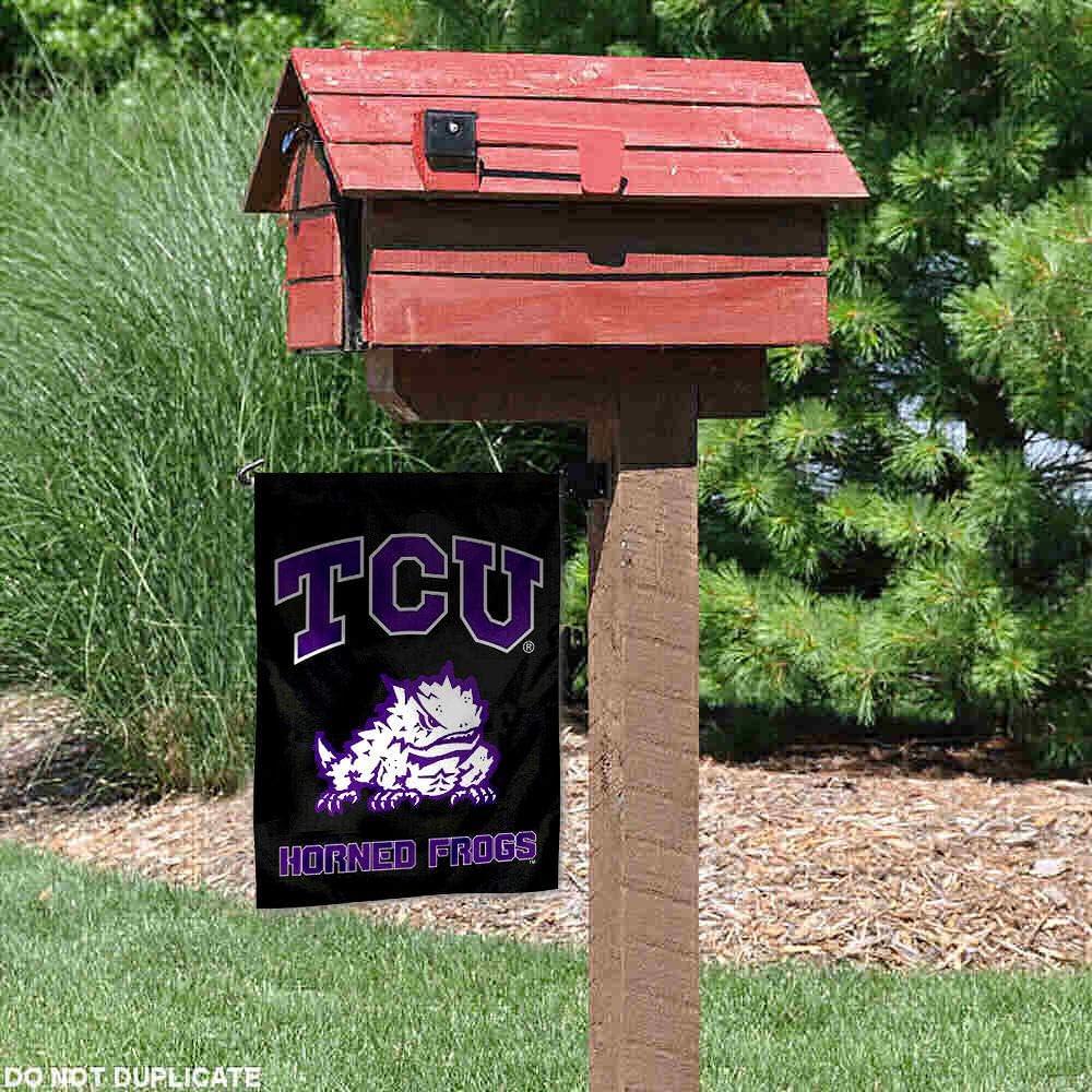 TCU Horned Frogs Black Garden Flag and Yard Banner