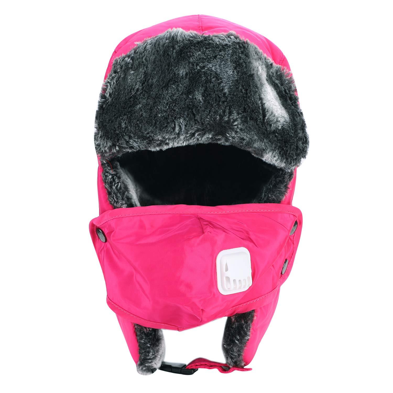 ITODA Hiver Chapka//Chapeau Trappeur Chaud en Fausse Fourrure Bonnet de Russe Anti-Vent Anti-poussi/ère Bonnet Aviateur Pilote avec Masque Chaud pour Ski Snowboard Femme Homme