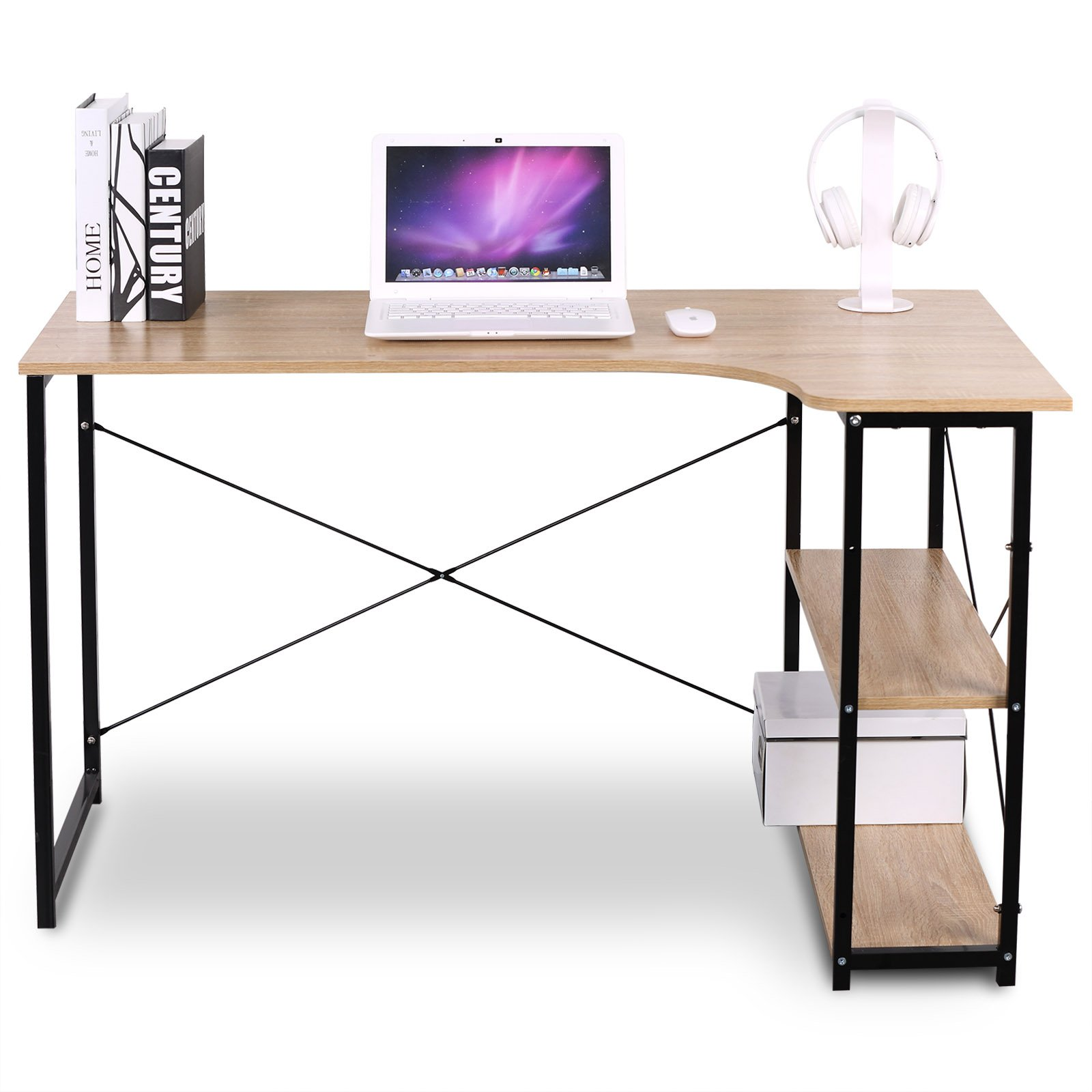 WOLTU L-Shaped Corner Computer Office Desk Modern PC laptop Workstation Table Home Office Desk Wood&Metal Black (Woodlook)
