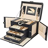 Homde Jewelry Box Necklace Ring Storage Organizer Synthetic Leather Large Jewel Cabinet Gift Case (Black)