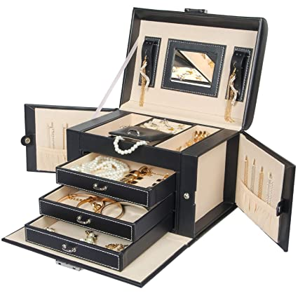 37c58c682f443 Homde Jewelry Box Necklace Ring Storage Organizer Synthetic Leather Large  Jewel Cabinet Gift Case (Black)