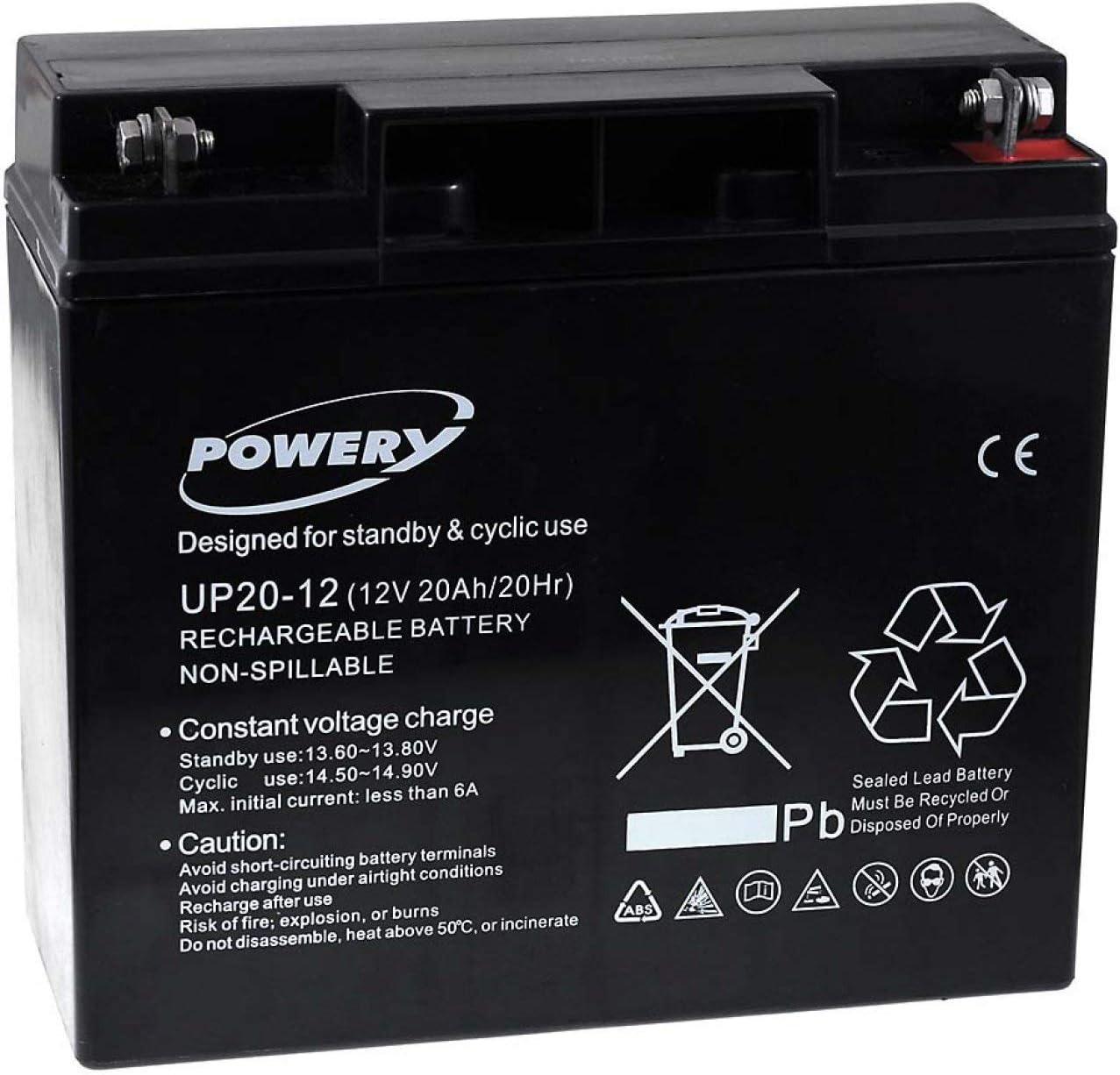 Powery Batería de GEL UP20-12 12V 20Ah (Reemplaza también 18Ah)