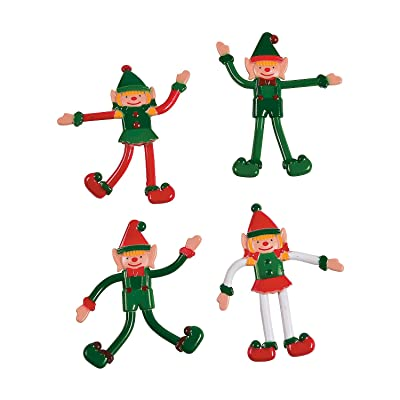 Fun Express - Christmas Elves Bendable for Christmas - Toys - Character Toys - Bendables - Christmas - 24 Pieces: Toys & Games