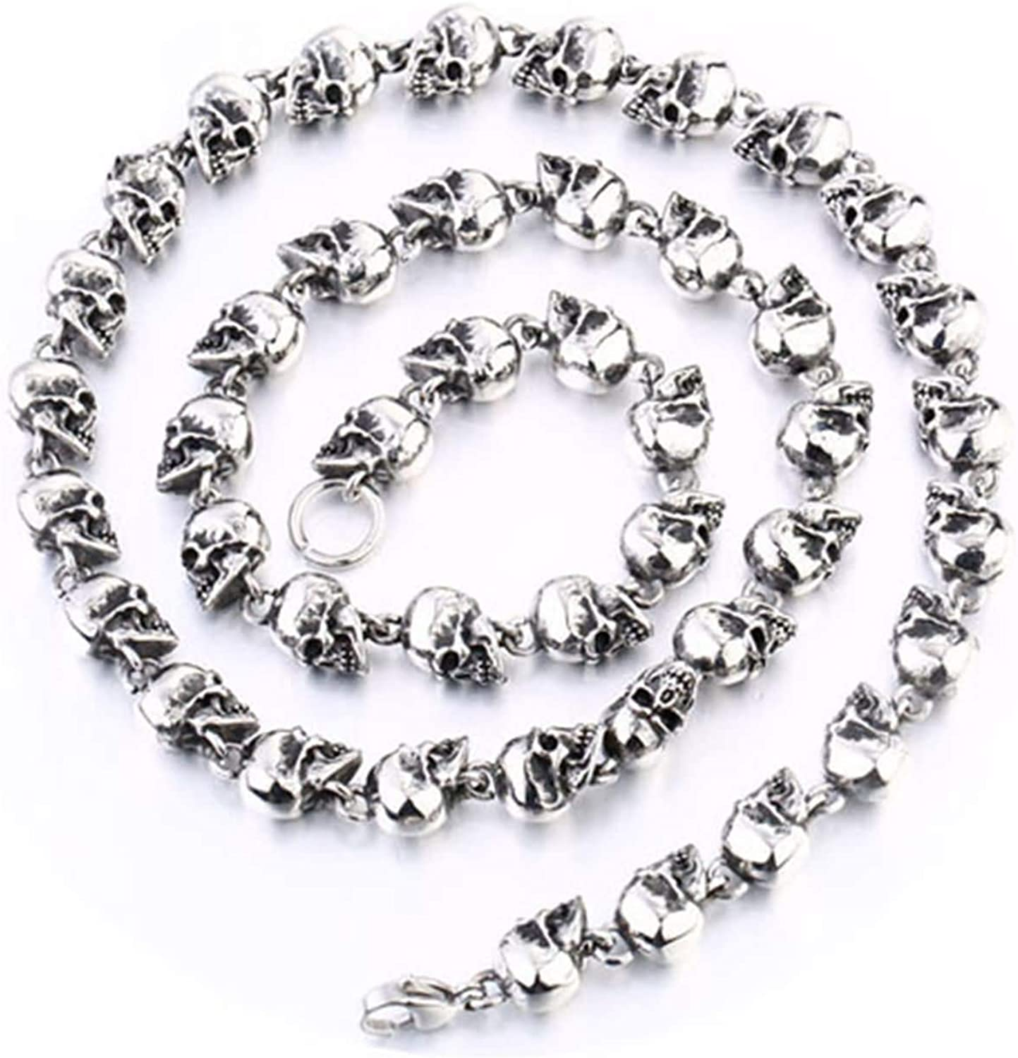 Aokarry 316L Stainless Steel 9.5MM Chain Necklace for Men Silver Skull Chain Punk Chain Men Necklace