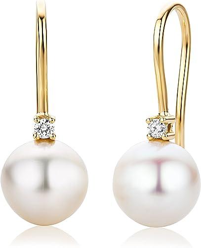 Perlen-Ohrstecker 375 Gold Weißgold 0,06 ct Diamant Brillant Ohrringe rund 6 mm