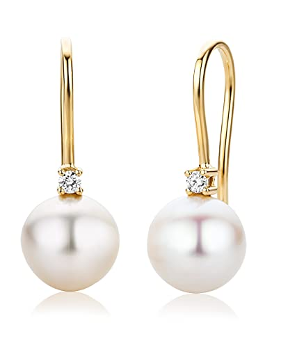 Miore Earrings for Kids studs Freshwater Pearls Yellow Gold 18 Kt/750 2YHkjtAy
