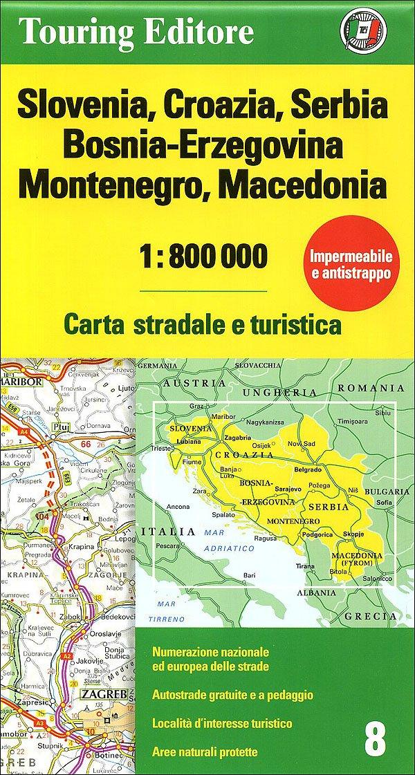 Croazia E Slovenia Cartina Geografica.Slovenia Croazia Serbia Bosnia Erzegovina Montenegro Macedonia 1 800 000 Carta Stradale E Turistica 9788836555796 Amazon Com Books