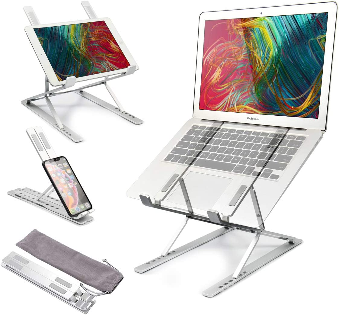 Adjustable Laptop Stand with Double Layer, Aluminum Laptop Riser with 15 Levels, Portable Foldable Laptop Holder Compatible with All Notebooks iPads Tablets up to 17.3""