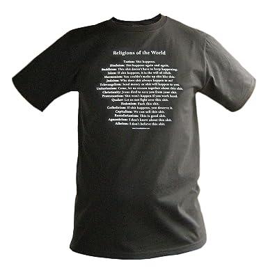 Amazon.com: Religions of the World XL Black T-shirt Atheist rude ...