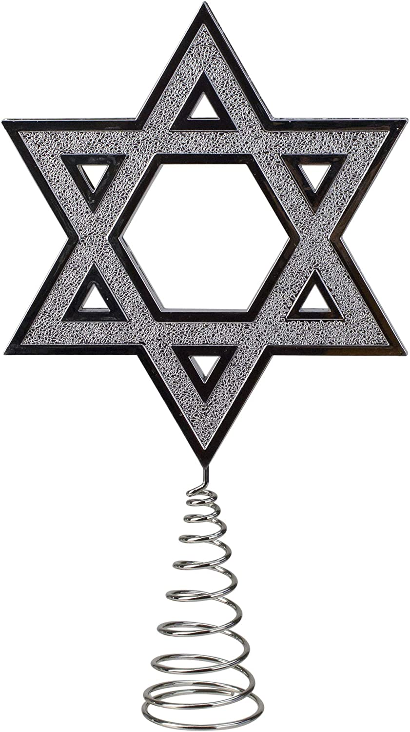 "Kurt Adler 9.5"" Silver Star of David Hanukkah Holiday Tree Topper"