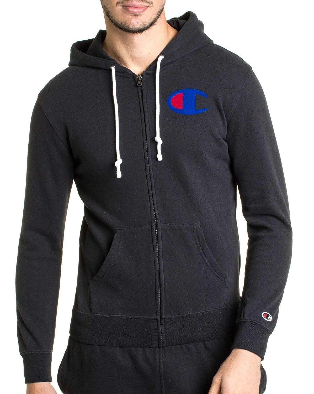Noir M Champion - Gilet Sweat Noir 212261 pour Homme avec Gros Logo de Marque sur Poitrine