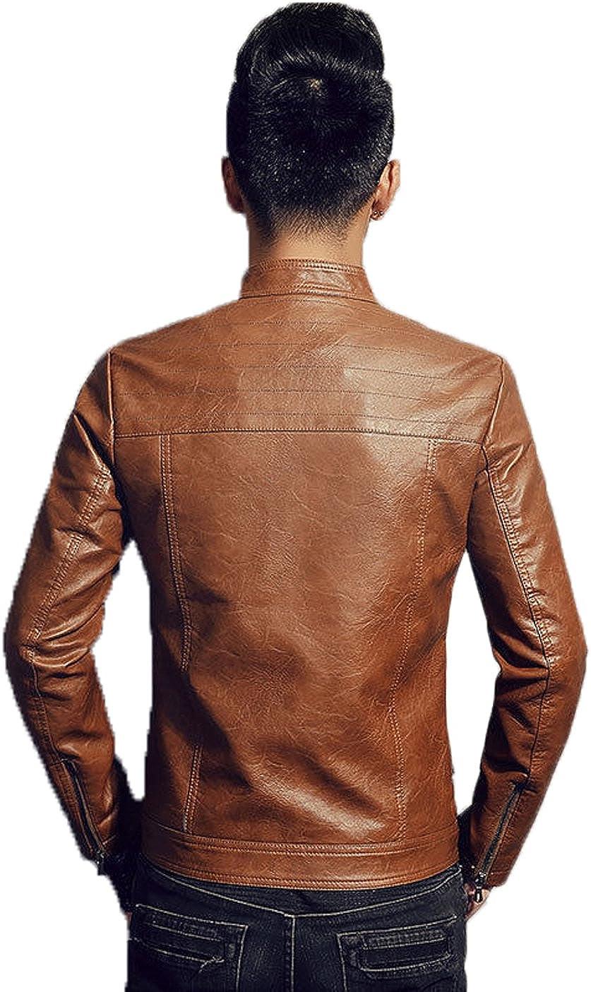 Mens Leather Jacket Slim Fit Biker Motorcycle Genuine Lambskin Jacket Coat T1456