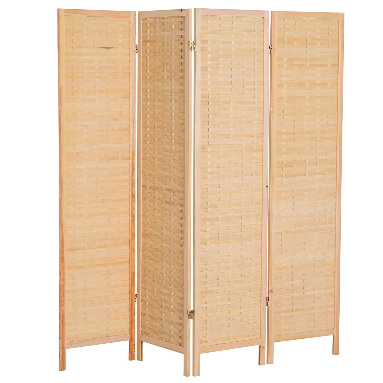 homcom Divisorio Paravento Interno per Camera da Letto Soggiorno Classico con 4 Pannelli Richiudibile in bambù e Legno 180×180 × 2cm Aosom Italy