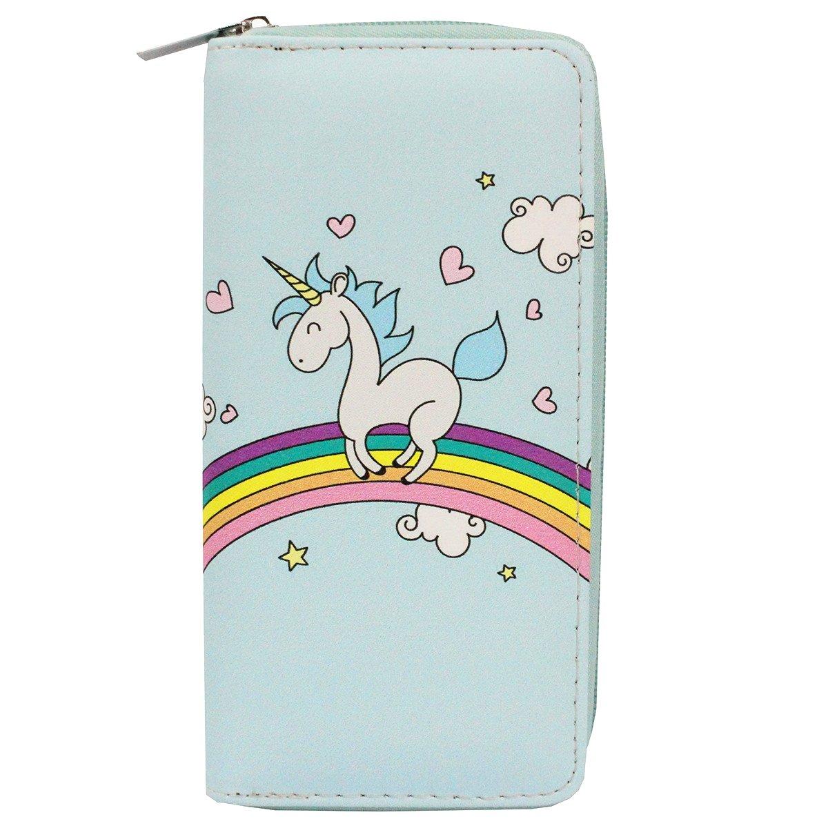 Timlee Cute Rainbow Unicorn Long Wallets Long Purse (Unicorn Blue)