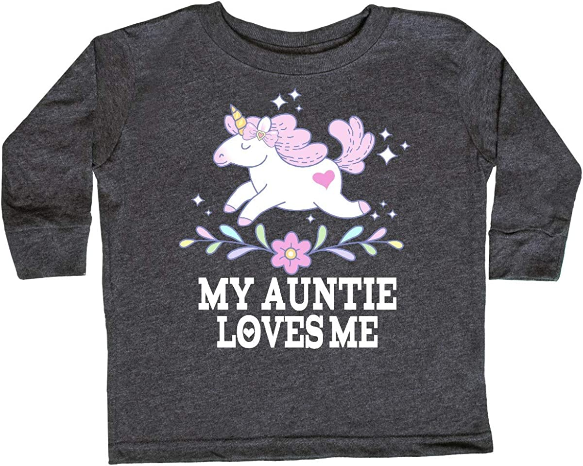 inktastic My Auntie Loves Me Unicorn Toddler Long Sleeve T-Shirt