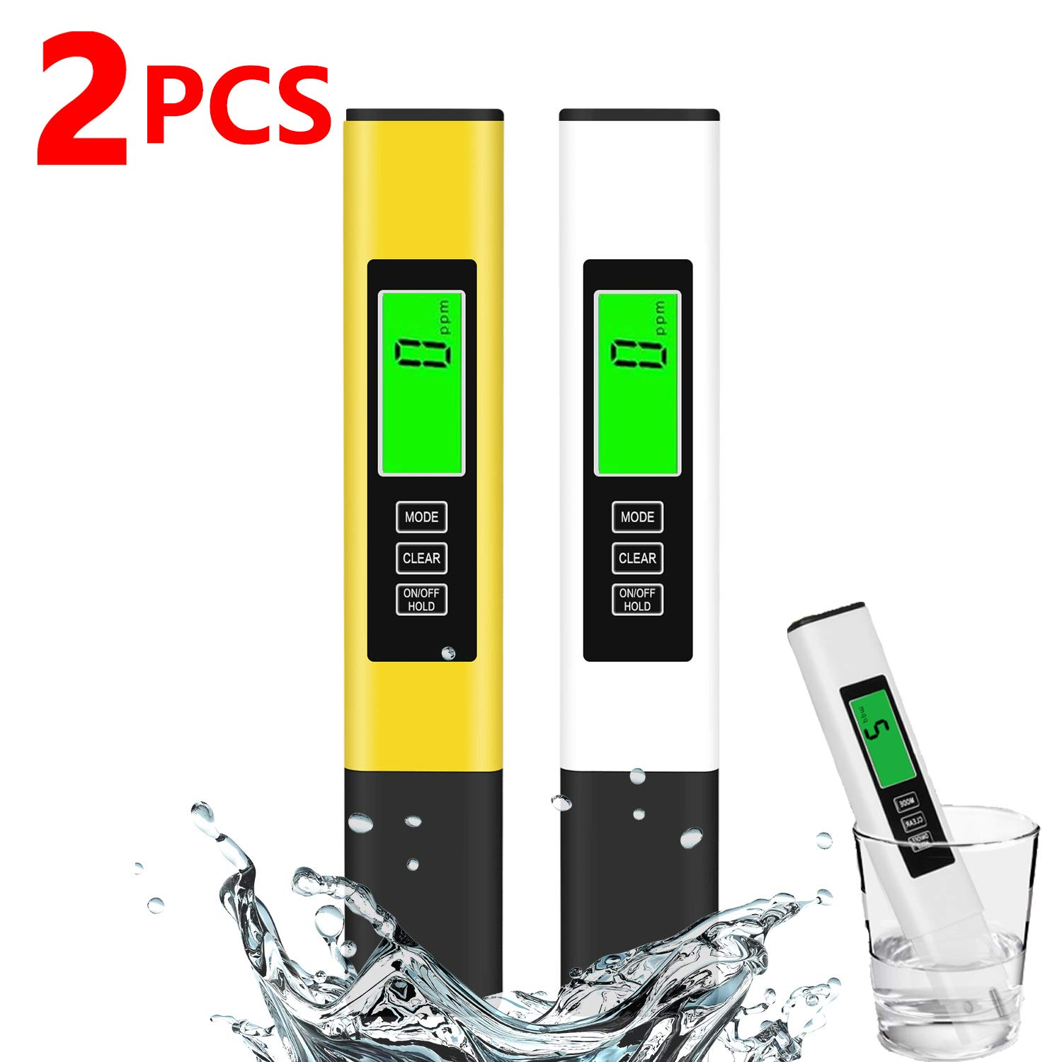 TDS Meter, 2 Pack Digital Water Tester, Water Quality Tester, Temperature & EC Meter 4 in 1, 0-9999ppm, ppm Meter for Drinking Water, Aquarium and More…