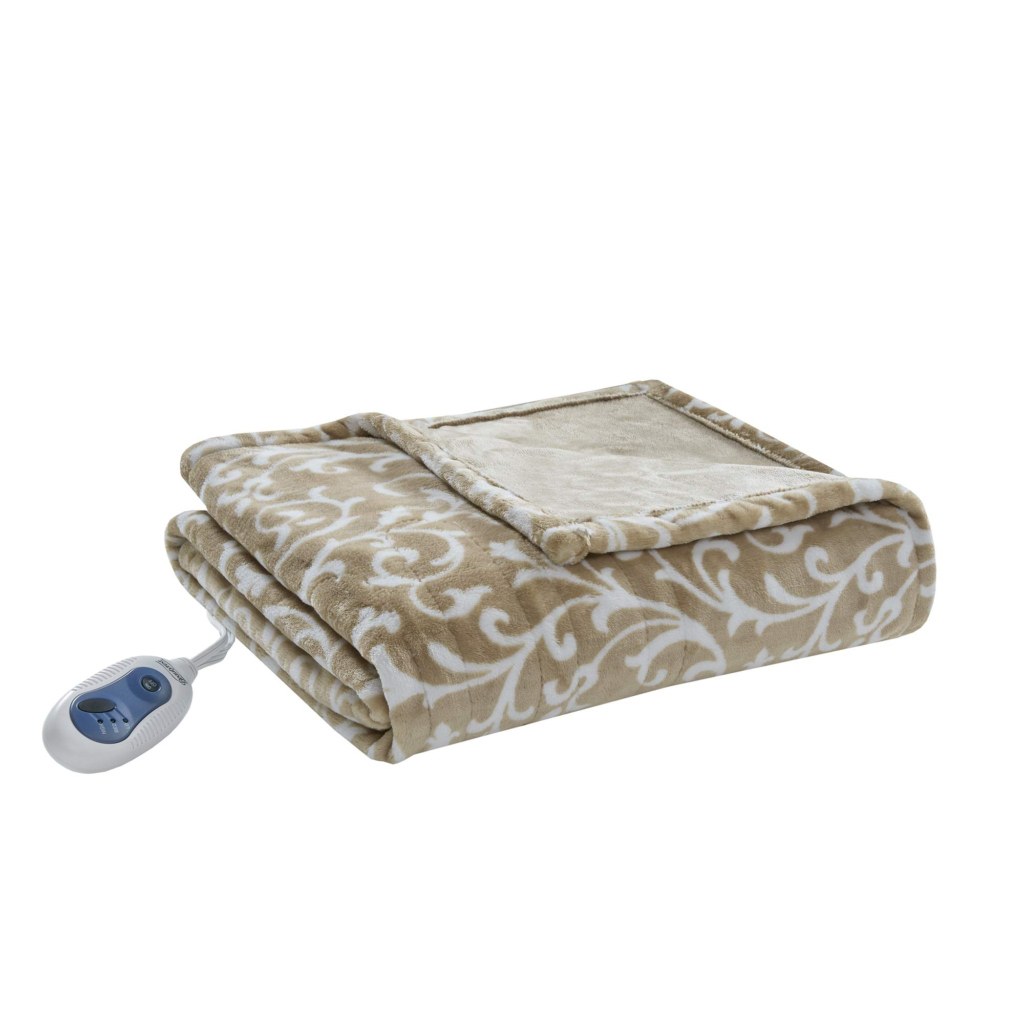 Beautyrest - Plush Heated Throw Blanket -Secure Comfort Technology-Oversized 60'' x 70''- Tan - Scroll Printed Pattern - Cozy Soft Microlight Heated Electric Blanket Throw - 3-Setting Heat Controller