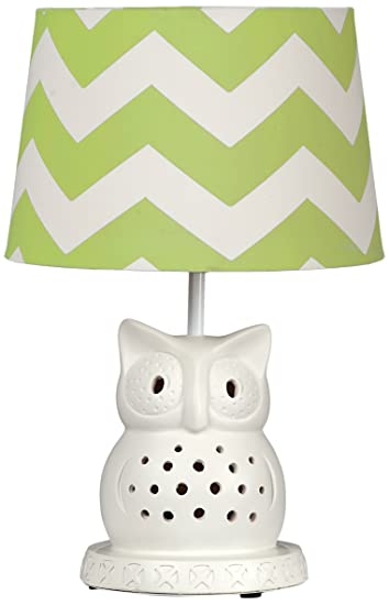Lolli Living Owl Lamp Base W/ Green Zig Zag Shade