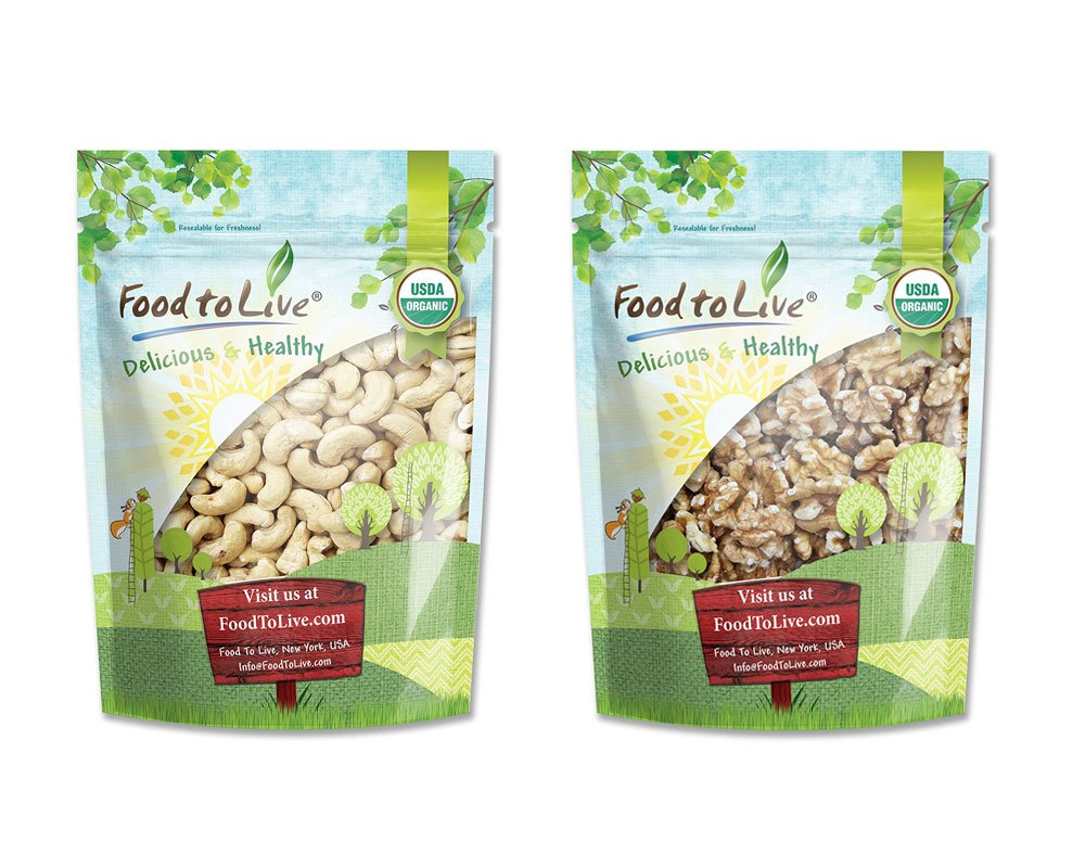 Organic Nuts Bundle with Organic Cashews W-240, 8 Ounces and Organic Walnuts, 8 Ounces — Whole, Raw