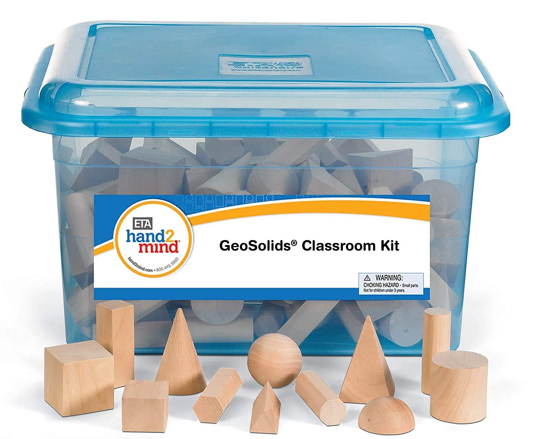 hand2mind Wood Geometric Solid Blocks, 3D Shapes, Classroom Kit (Set of 96)