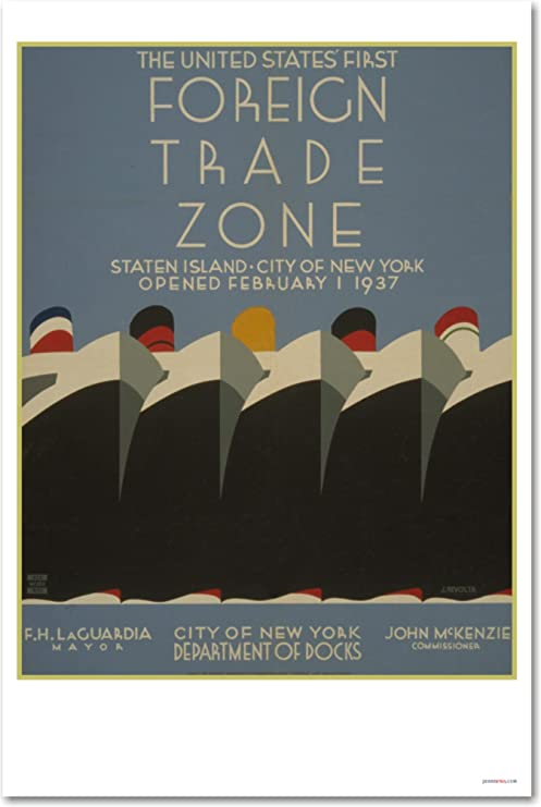 Foreign Trade Zone Ships WPA Vintage Art Print   NEW POSTER