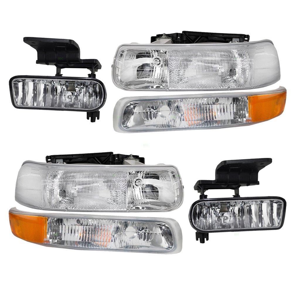 BROCK 6 Pc Set of Headlights Fog Lights & Side Signal Marker Lamps for Chevrolet Pickup 16526133 16526134 15199558 15199559 Aftermarket