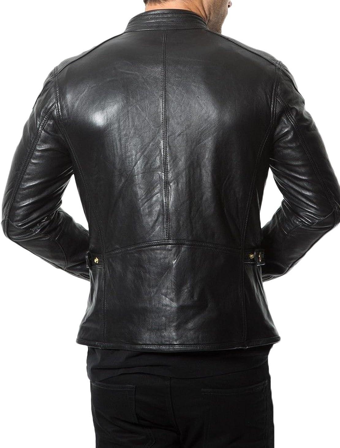 Kingdom Leather Men Slim Fit Biker Motorcycle Lambskin Leather Jacket Coat Outwear Jackets X1231