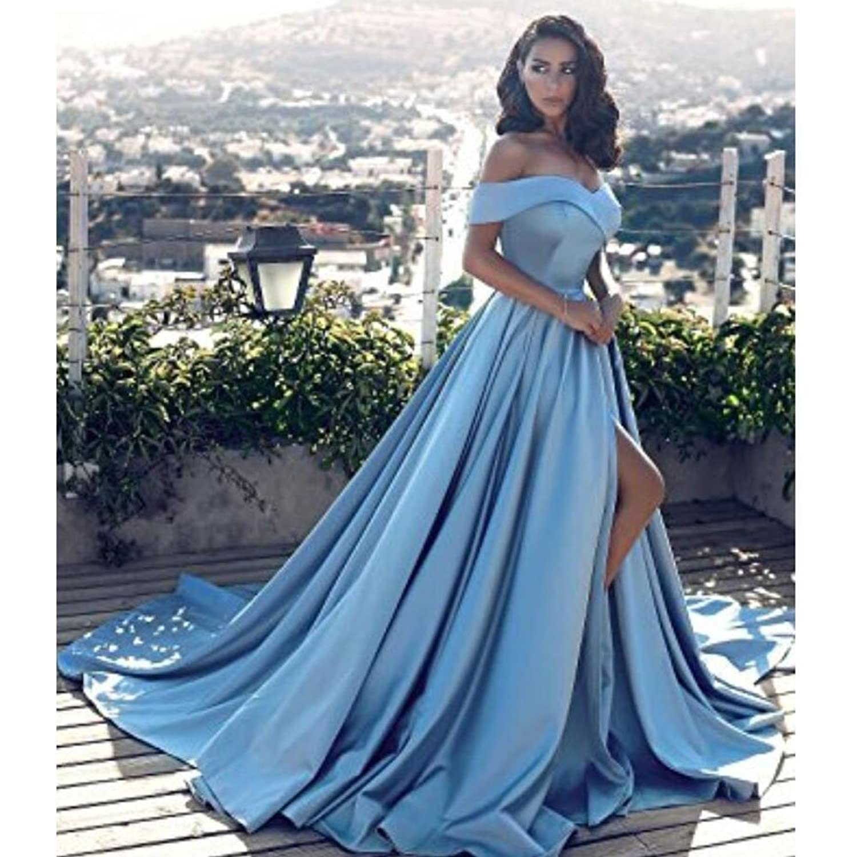 Off Shoulder Long Satin Prom Dresses 2018 Formal Evening Gowns ...