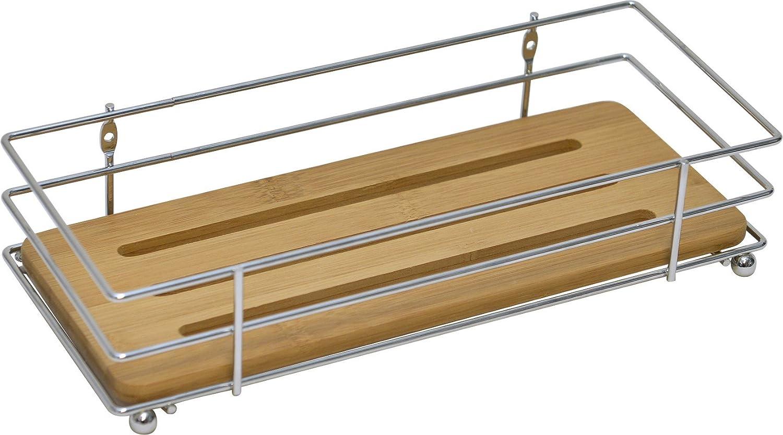 Bathroom Metal Wire Shelf Basket Organizer With Bamboo Tray Brown