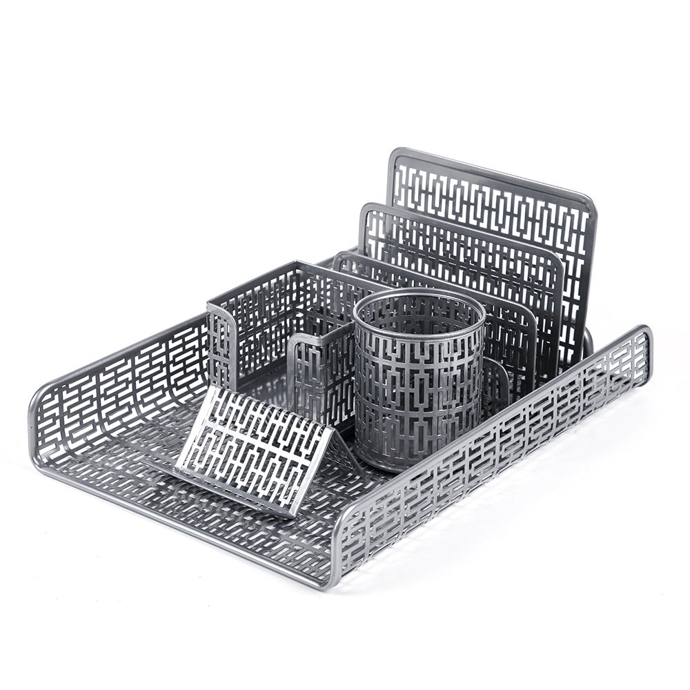 Crystallove Metal Mesh Desk Accessories Office Products Organizer Set of 5pcs-Document Tray, Mail Sorter, Pencil Cup, Memo Holder and Business Card Holder (Silver-Style 1) by Crystallove (Image #2)