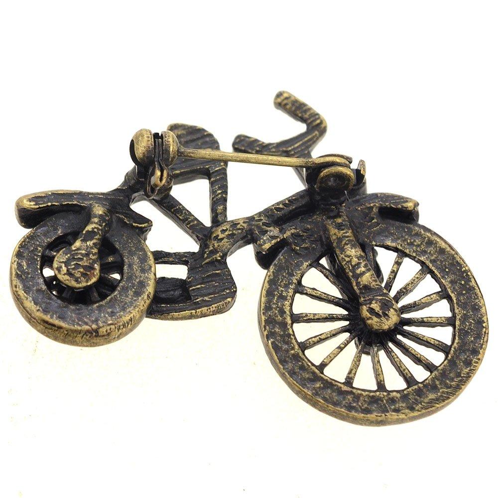 Fantasyard Vintage Style Brass Bicycle Crystal Brooch Pin