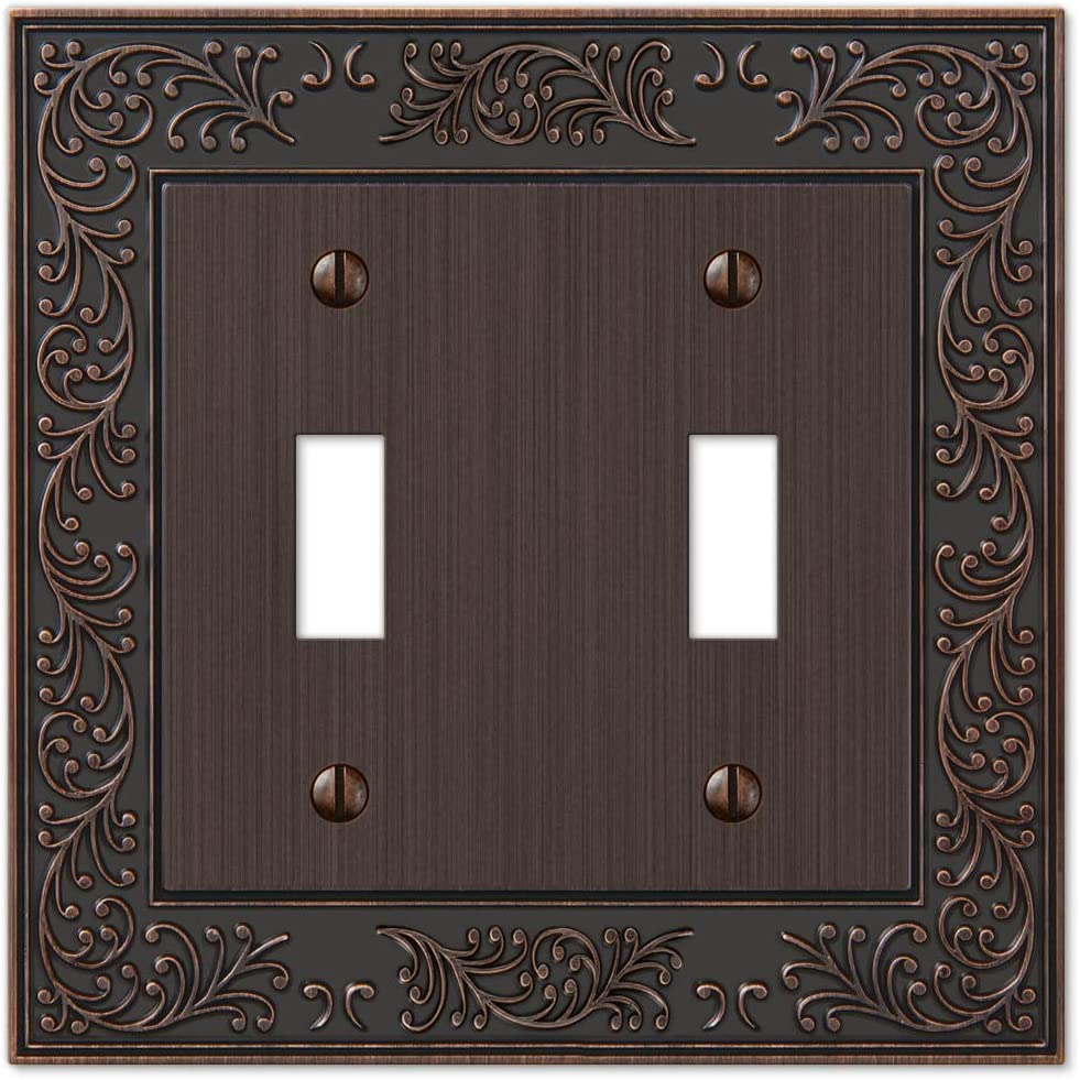 AmerTac 43TTVB Amerelle English Garden Double Toggle Cast Metal Wallplate in Aged Bronze