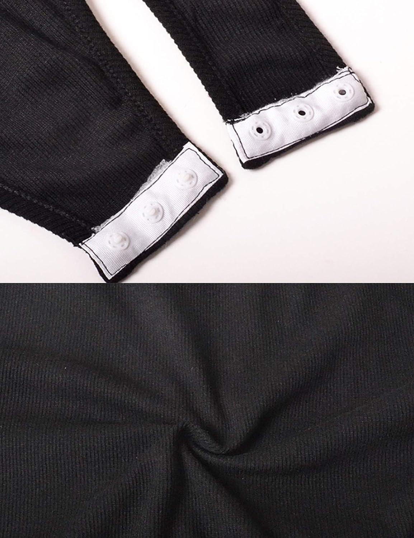 Letuwj Body de manga larga acanalada con botones para mujer